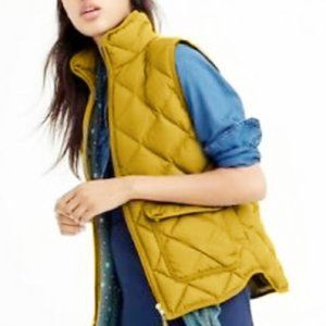J Crew Excursion Down Quilted Vest Size S Snap Pockets Zip Snaps Closure Green